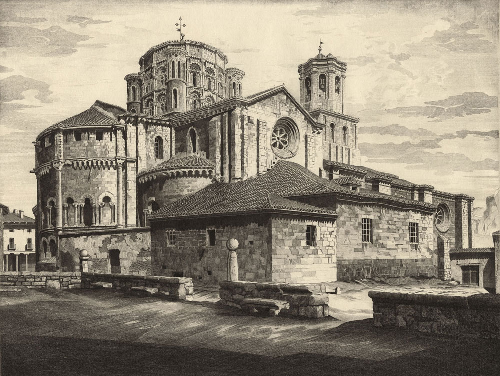 Black and white etching of Spanish Church.