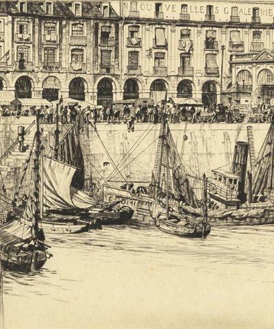 Black and white etching of boats in front of Les Arcades.