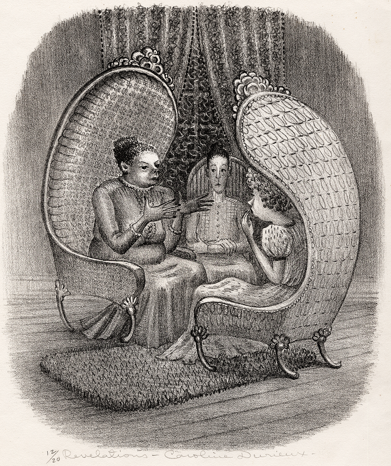 three females sitting in ornate chairs