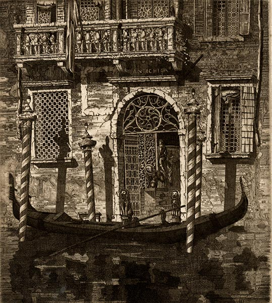 Black and white image of Italian building with architectural detail.