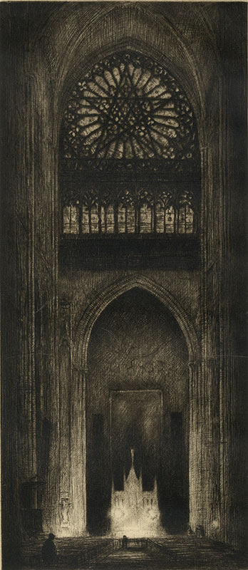 glowing church alter in a dark cathedral by Kerr Eby