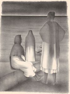 three figures by the sea
