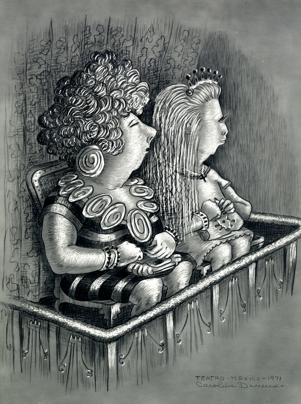 two women observing the theater