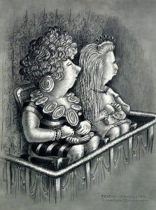 two females on spectator balcony
