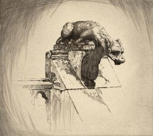 Black and white etching of Gargoyle with architectural accents