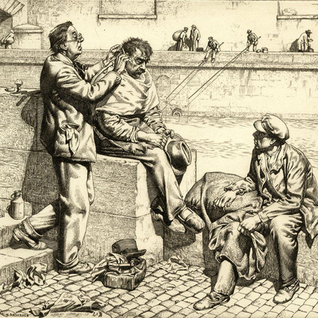 Black and white image of three men.