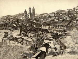 Black and white landscape of buildings in city of Taxco