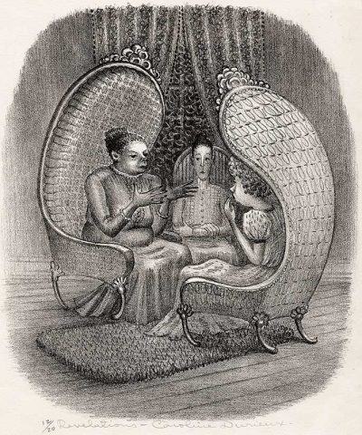 three females sit in detailed chairs