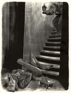 man suffering at the bottom of stairs, old man walking downstairs with candle