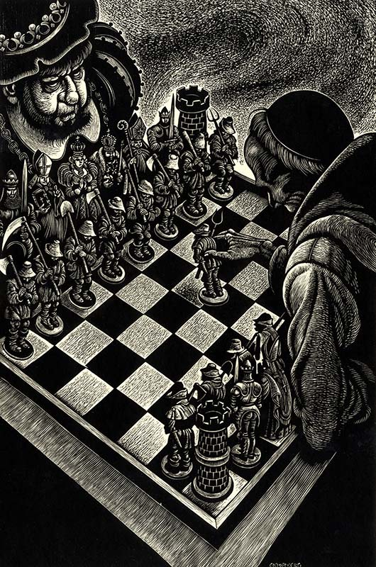 two figures playing chess