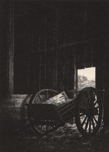 wagon inside of barn