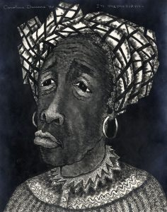 woman with sad facial expression and detailed garments