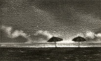 horizon with two umbrellas and clouds