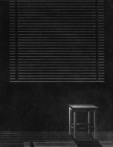 window with blinds closed and chair