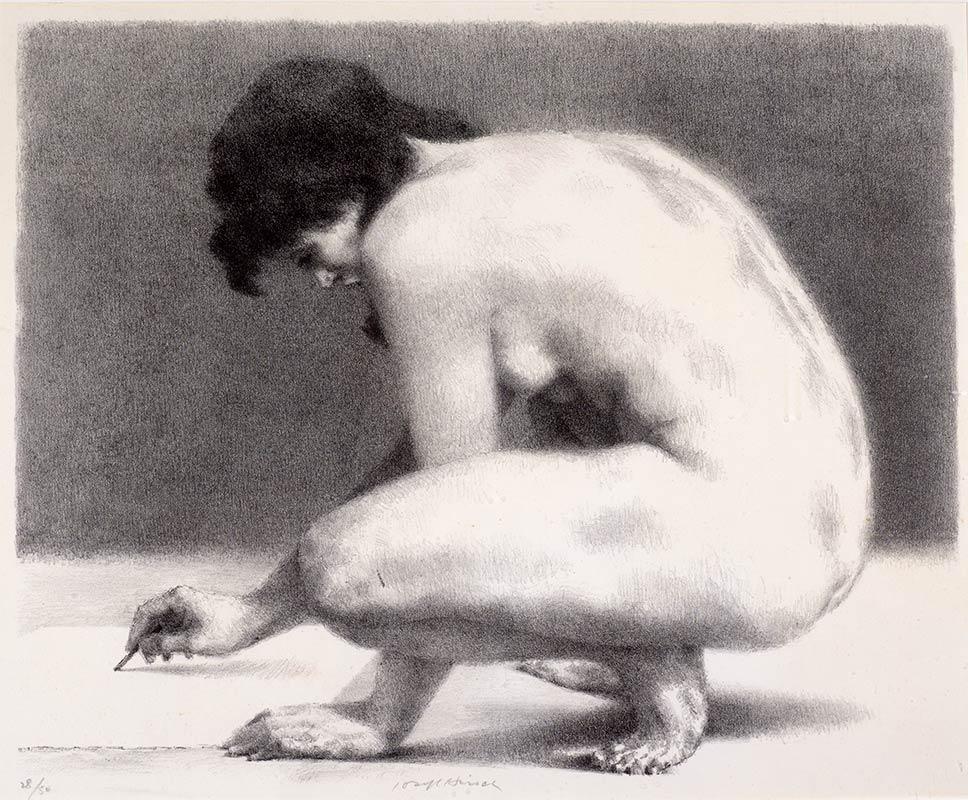 Crouching nude woman writing