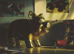 Piggy bank on desk