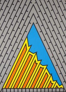 Geometric image with grey blue yellow orange and black