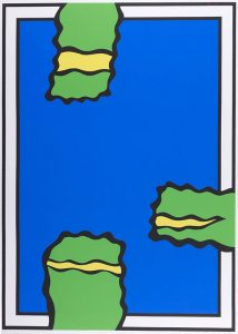blue rectangle with green and yellow forms