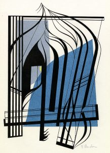 abstract forms with blue and black lines