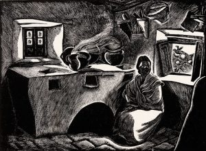 black and white kitchen with crouched woman and open window