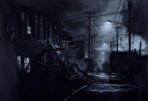 dark scene back alley way