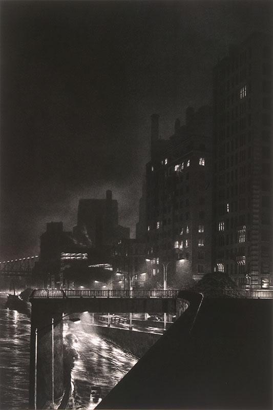 dark view of buildings and street