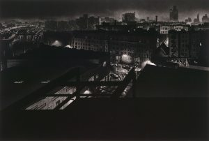 Dark view of skyline from elevated surface