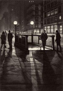 people around subway station at night