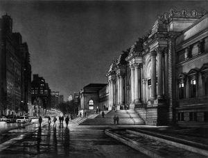 night view of street with museum