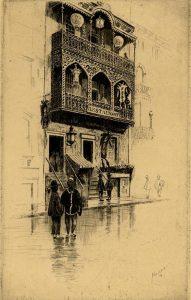 figures outside ornate building