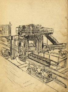 Line drawing of machinery