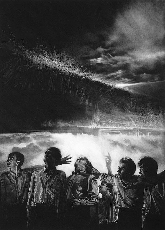 men in front of storm