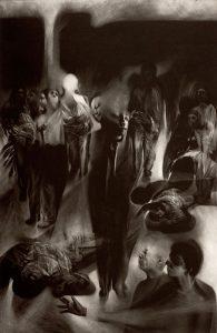 bodies in dark atmosphere