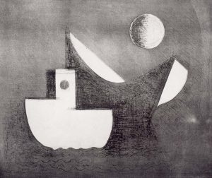 boats on water and moon