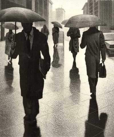 people walking in city with umbrellas