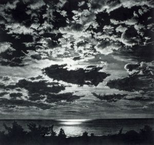 landscape with ocean, bushes, and clouds