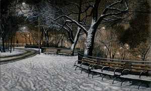snowy benches and trees