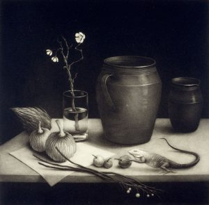 still life with lizard, pumpkin, vase, and cup