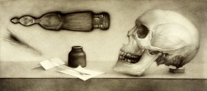 still life with skull, feather pen, and ink