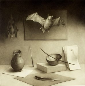 still life with bat painting, feather, vase, and bowl