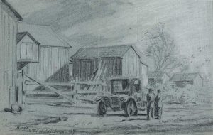 Wagon in front of barn
