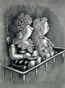 two mexican women sitting in a box at the theater