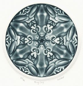 circular design of six frogs by Carol Wax