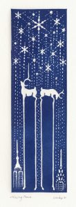 two deer whose elongated legs create silhouetted twin towers as pieces missing from the New York skyline against a backdrop of snowflakes and stars