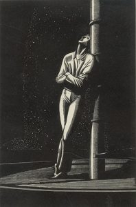 man leaning against a mast on a starry night
