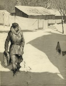 a woman walks across snowy yard in bright sunlight after hangin laundry by Martin Lewis