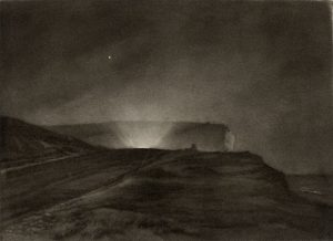 light from headlights seen on the otherwise of a hill by Sir Frank Short