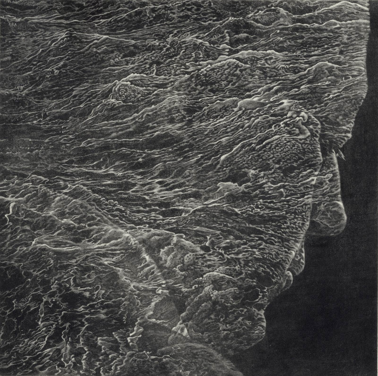 face of a man in profile with overlaying waves by Art Werger