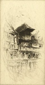 black and white etching of a french cottage style facade