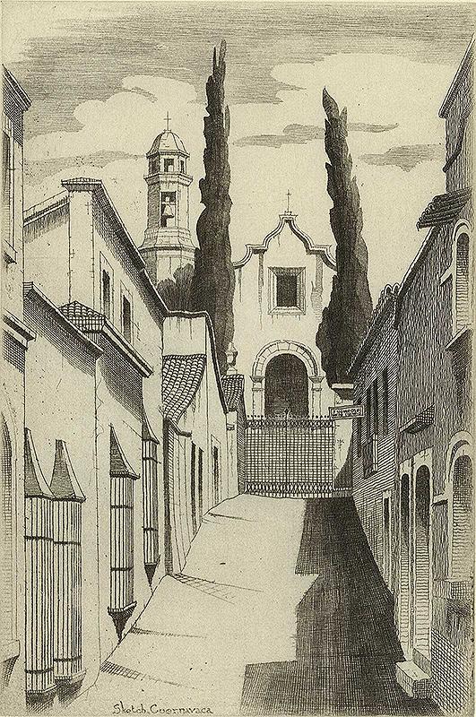 black and white narrow street leading to church